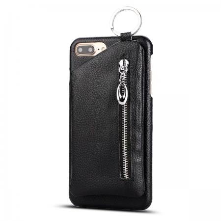 Fashion Genuine Leather Back Cover Case with Bag for iPhone 7 Plus 5.5 inch - Black