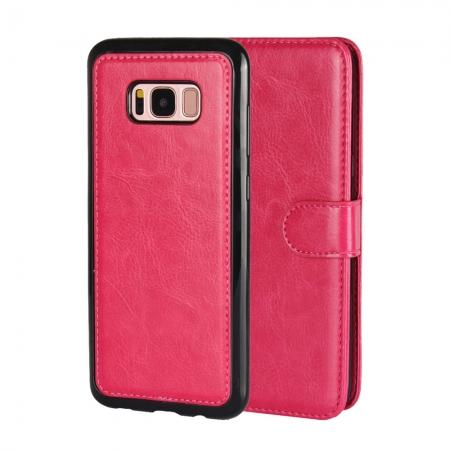 Luxury Wallet Leather Detachable Case Stand Cover For Samsung Galaxy S8+ Plus - Rose