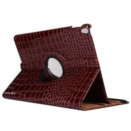 360 Degree Rotating Crocodile PU Leather Case for iPad Pro 10.5-inch - Brown