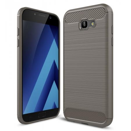 Case for Samsung Galaxy A7 2017 Carbon Fiber Texture Brushed Soft TPU Case Back Cover - Grey