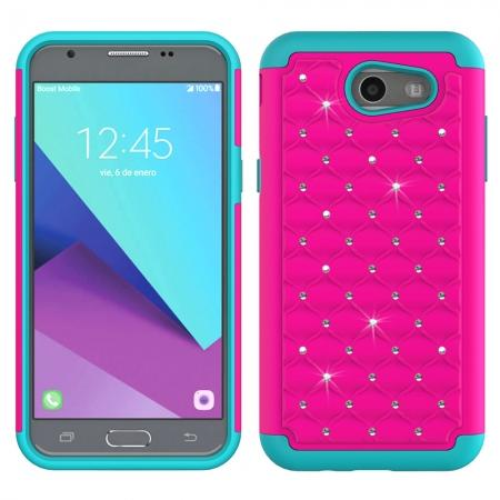 Case For Samsung Galaxy J3 Emerge Cover Hard Rubber Hybrid Diamond Bling Phone Skin - Hot Pink&Teal