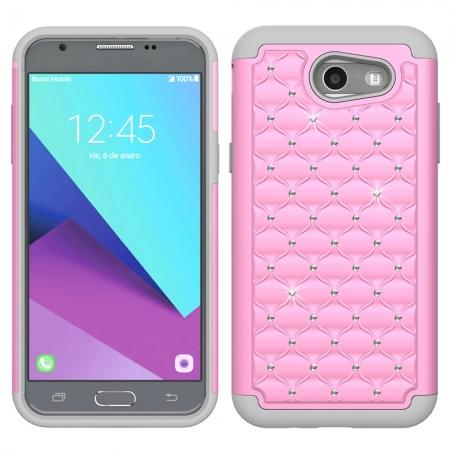Case For Samsung Galaxy J3 Emerge Cover Hard Rubber Hybrid Diamond Bling Phone Skin - Pink&Gray