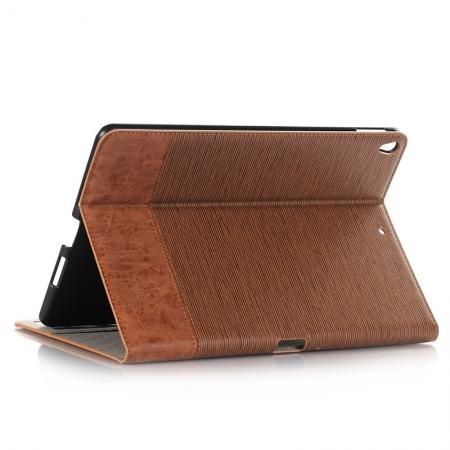 Cross Pattern PU Leather Flip Folio Wallet Card Holders Case for iPad Pro 10.5-inch - Brown