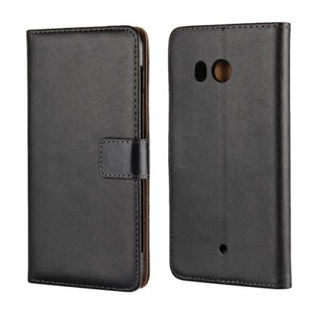 Genuine Leather Flip Case Stand Wallet Case Card Holder for HTC U11 Black