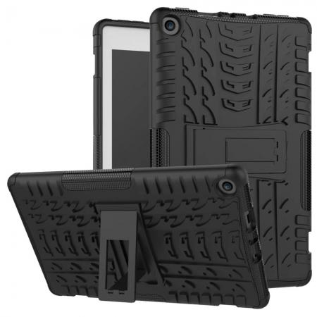 Rugged Armor Hybrid Kickstand Defender Protective Case for Amazon Kindle Fire HD 8 (2017) - Black
