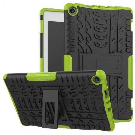 Rugged Armor Hybrid Kickstand Defender Protective Case for Amazon Kindle Fire HD 8 (2017) - Green