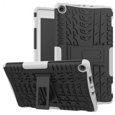 Rugged Armor Hybrid Kickstand Defender Protective Case for Amazon Kindle Fire HD 8 (2017) - White