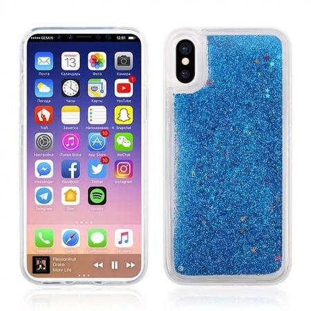 Bling Quicksand TPU Back Case Cover for iPhone X - Blue