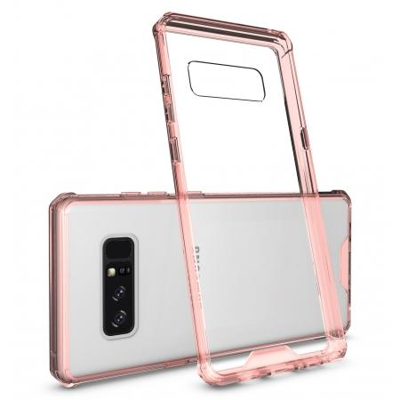 Crystal Clear Hard Back Hybrid TPU Bumper Protective Case For Samsung Galaxy Note 8 - Rose gold