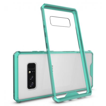 Crystal Clear Hard Back Hybrid TPU Bumper Protective Case For Samsung Galaxy Note 8 - Teal