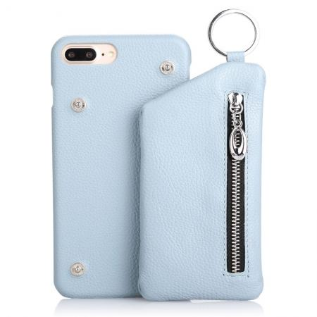 Genuine Leather Dual Zipper Wallet Holder Case Cover For iPhone 7 - Light Blue