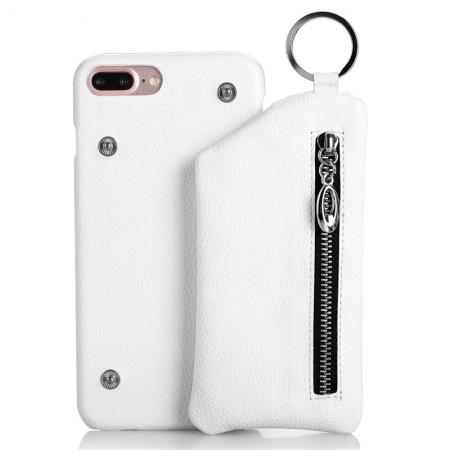 Genuine Leather Dual Zipper Wallet Holder Case Cover For iPhone 7 - White