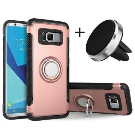 Hybrid Shockproof Protective Phone Case with Ring Stand for Samsung Galaxy S8 Plus - Rose gold