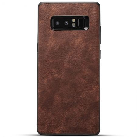 Leather Ultra Slim Hard Back Case Cover for Samsung Galaxy Note 8 - Dark Brown