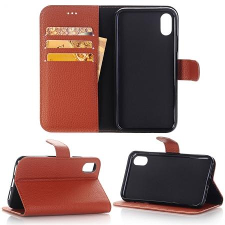 Lichee Pattern PU Leather Protective Cover Case for iPhone X - Brown