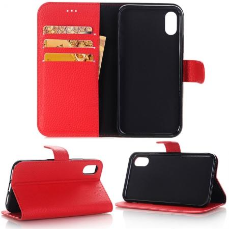 Lichee Pattern PU Leather Protective Cover Case for iPhone X - Red
