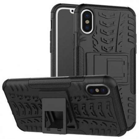 PC+TPU Shockproof Stand Hybrid Armor Rubber Cover Case For iPhone X - Black