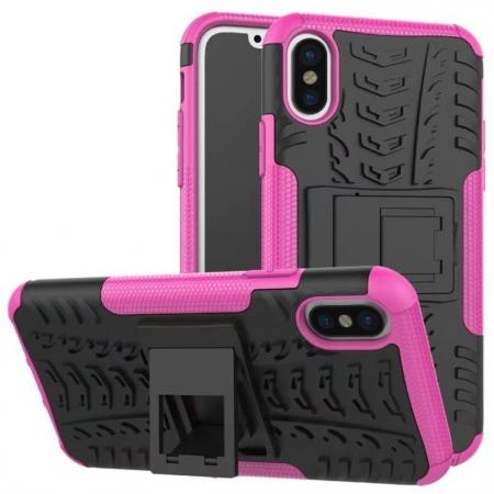 PC+TPU Shockproof Stand Hybrid Armor Rubber Cover Case For iPhone X - Hot Pink
