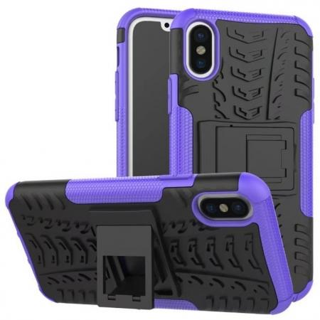 PC+TPU Shockproof Stand Hybrid Armor Rubber Cover Case For iPhone X - Purple