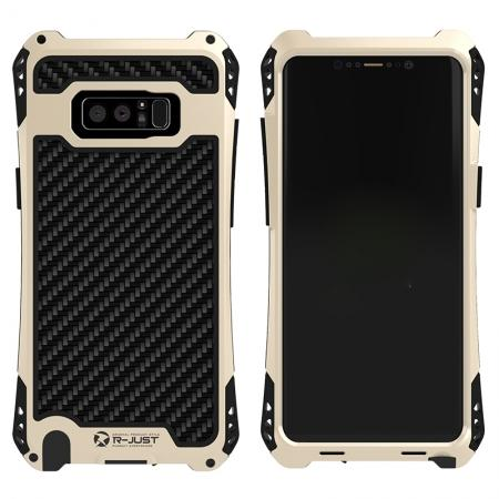 R-just Powerful Shockproof Dirt Proof Metal Aluminum Case for Samsung Galaxy Note 8 - Black&Gold