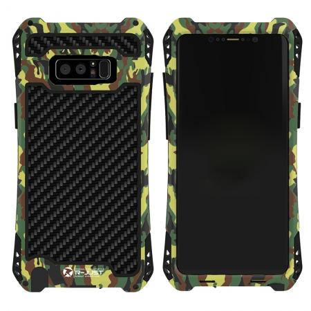 R-just Powerful Shockproof Dirt Proof Metal Aluminum Case for Samsung Galaxy Note 8 - Camouflage
