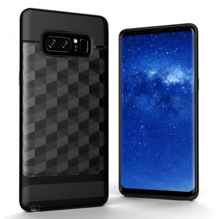 Shock-Absorption Rubber TPU Hybrid Hard Bumper Protective Case for Samsung Galaxy Note 8 - Black