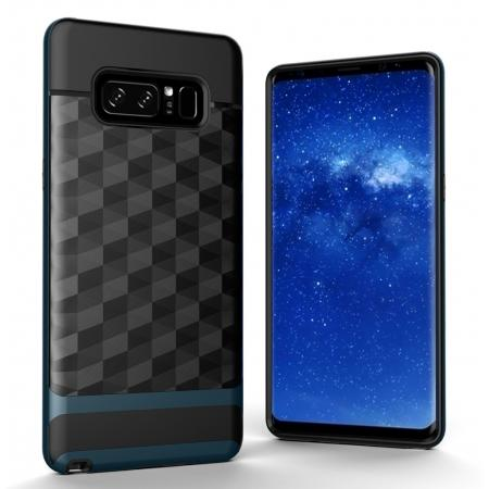 Shock-Absorption Rubber TPU Hybrid Hard Bumper Protective Case for Samsung Galaxy Note 8 - Navy blue