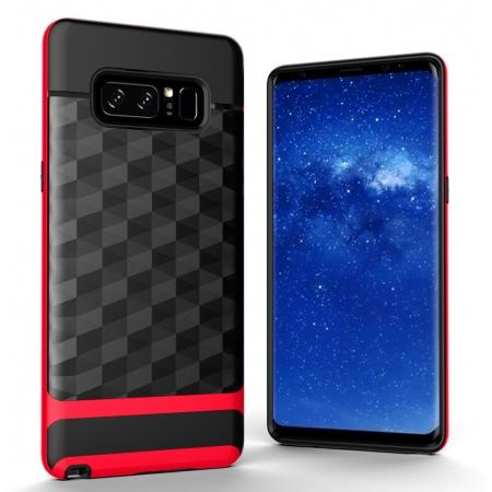 Shock-Absorption Rubber TPU Hybrid Hard Bumper Protective Case for Samsung Galaxy Note 8 - Red