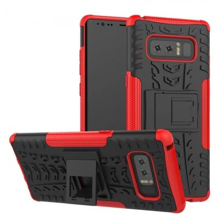 Shockproof TPU&PC Hybrid Stand Case Cover For Samsung Galaxy Note 8 - Red
