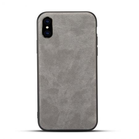 Slim Retro Leather Case Back Cover Skin For iPhone X - Light Gray