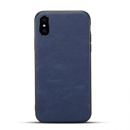 Slim Retro Leather Case Back Cover Skin For iPhone X - Navy Blue