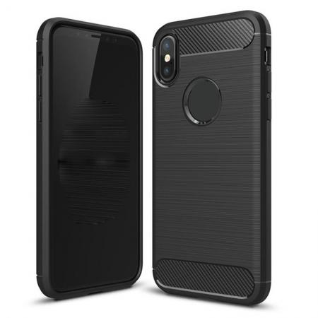 TPU Carbon Fiber Scratch Resilient Shock Absorption Protective Silicone Case for iPhone X - Black