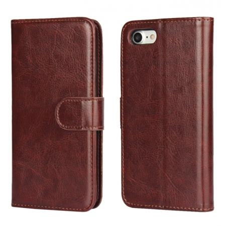2in1 Magnetic Removable Detachable Leather Wallet Cover Case For iPhone 8 Plus 5.5 inch - Dark Brown