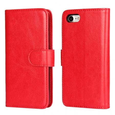 2in1 Magnetic Removable Detachable Leather Wallet Cover Case For iPhone 8 Plus 5.5 inch - Red