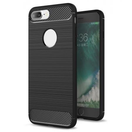 Brushed Metal Texture Soft TPU Silicone Carbon Fiber Protective Cover for iPhone 8 Plus - Black