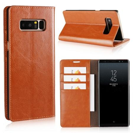 Crazy Horse Genuine Leather Flip Wallet Stand Case for Samsung Galaxy Note 8 - Brown
