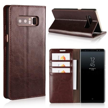 Crazy Horse Genuine Leather Flip Wallet Stand Case for Samsung Galaxy Note 8 - Coffee