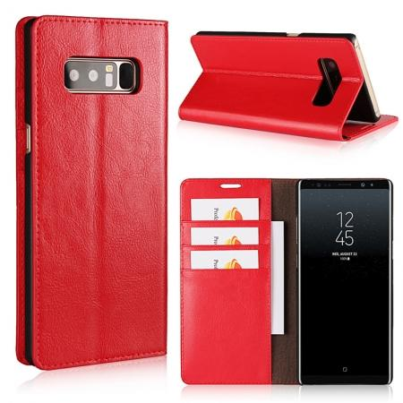 Crazy Horse Genuine Leather Flip Wallet Stand Case for Samsung Galaxy Note 8 - Red