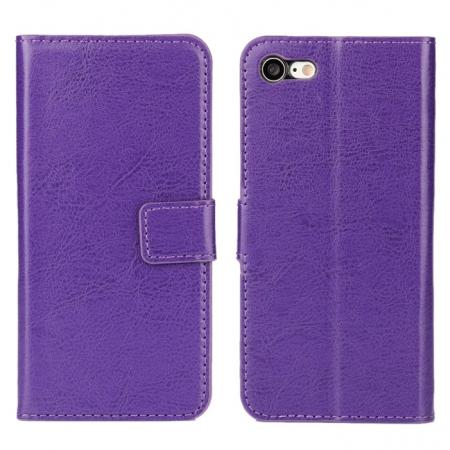 Crazy Horse Magnetic PU Leather Flip Case Inner TPU Cover for iPhone 8 Plus 5.5 inch - Purple