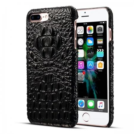 Crocodile Head Pattern Genuine Cowhide Leather Back Cover Case for iPhone 8 Plus 5.5 inch - Black