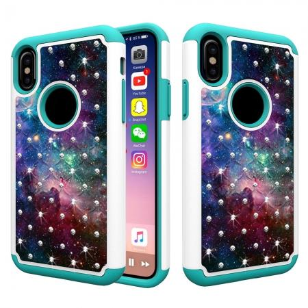 Crystal Bling Diamond Hybrid Armor Defender Dual Layer Shockproof Case for iPhone X - Nebula