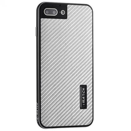 Deluxe Metal Aluminum Frame Carbon Fiber Back Case Cover For iPhone SE 2020 / 8 4.7 inch - Black&Silver