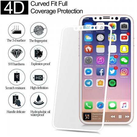 Full Coverage 4D Curve Tempered Glass Film Screen Protector for iPhone X - White