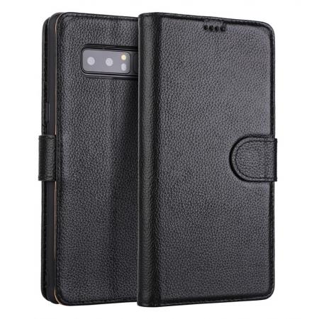 Genuine Leather Flip Card Slot Wallet Case For Samsung Galaxy Note 8 - Black