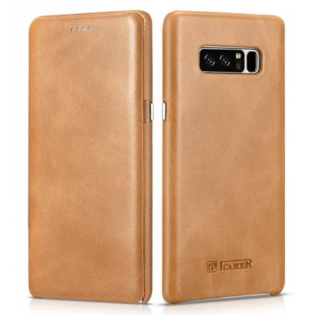 ICARER Curved Edge Vintage Genuine Leather Flip Case For Samsung Galaxy Note 8 - Khaki