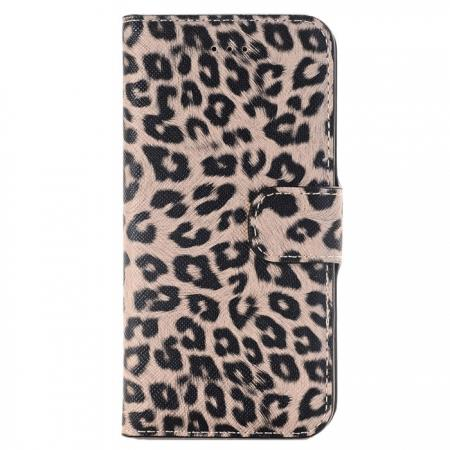 Leopard Pattern Magnetic Pu Leather Wallet Stand Case for iPhone 8 4.7 inch - Brown