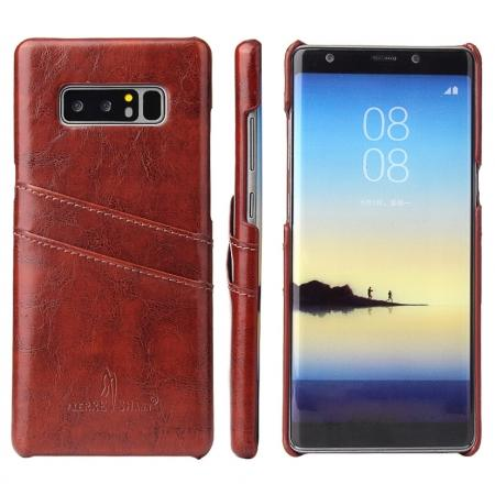 Luxury Card Slot Wax Oil Leather Case Cover For Samsung Galaxy Note 8 - Brown