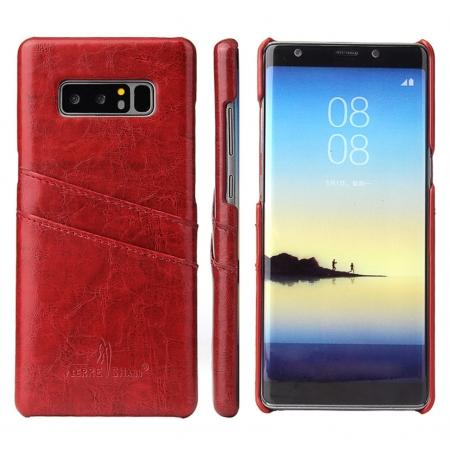Luxury Card Slot Wax Oil Leather Case Cover For Samsung Galaxy Note 8 - Red