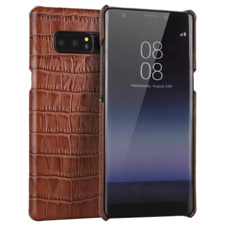 Luxury Crocodile Genuine Leather Back Protective Case Cover for Samsung Galaxy Note 8 - Brown
