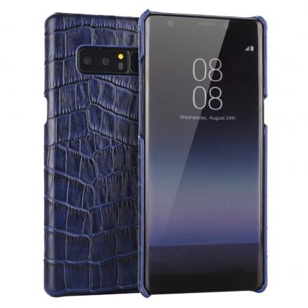Luxury Crocodile Genuine Leather Back Protective Case Cover for Samsung Galaxy Note 8 - Navy Blue